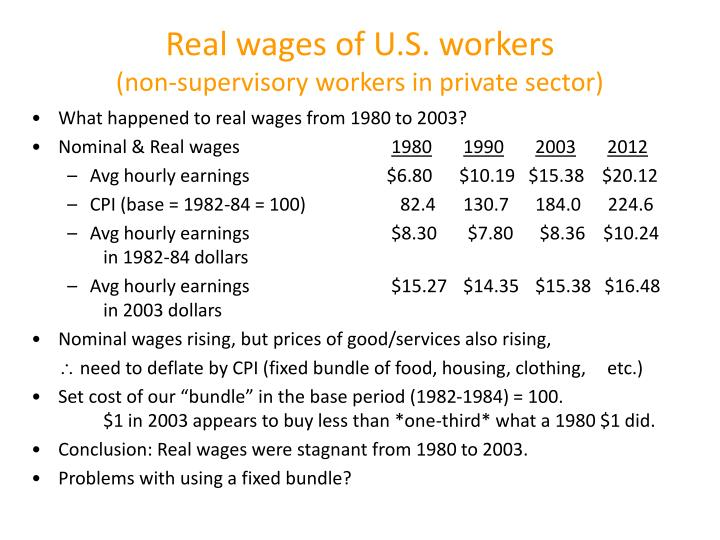 Real wages of U.S. workers