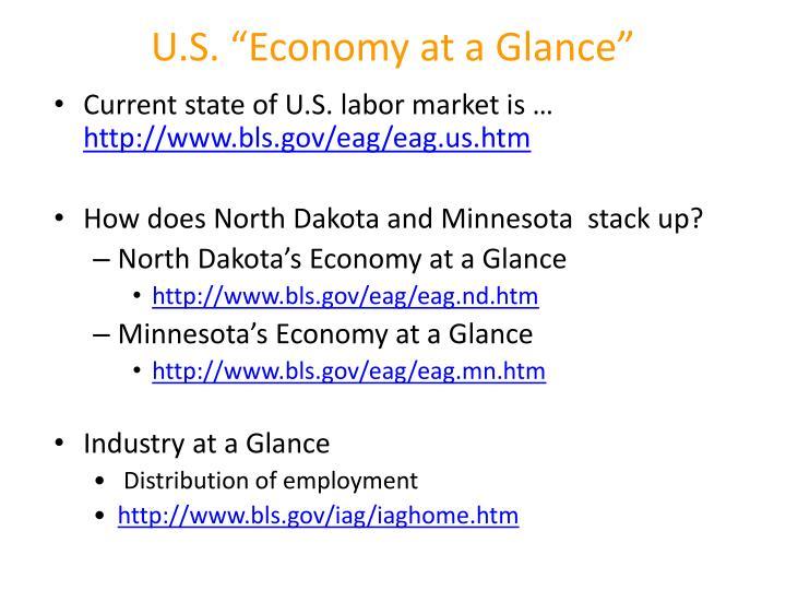 "U.S. ""Economy at a Glance"""