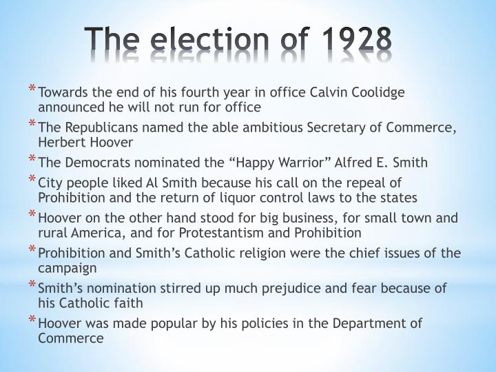 Towards the end of his fourth year in office Calvin Coolidge announced he will not run for office