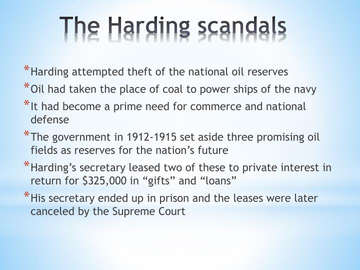 Harding attempted theft of the national oil reserves