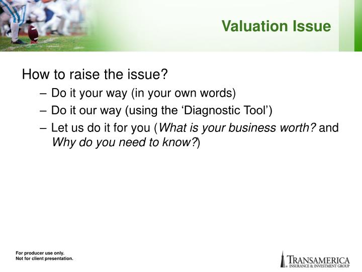 Valuation Issue