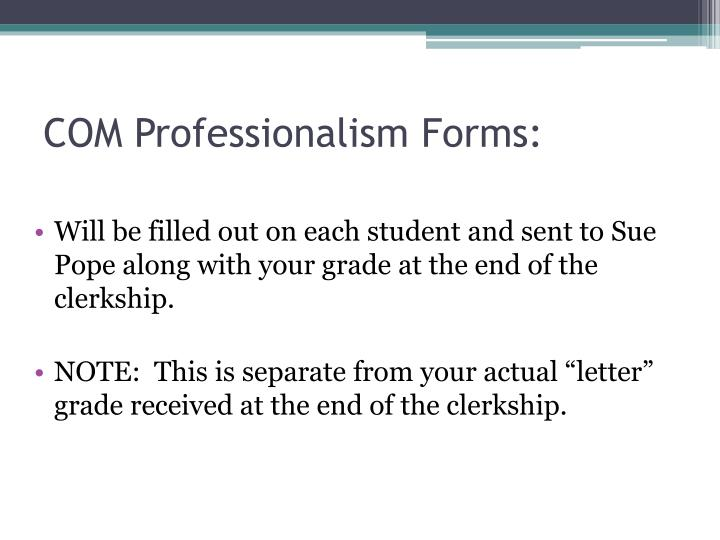 COM Professionalism Forms: