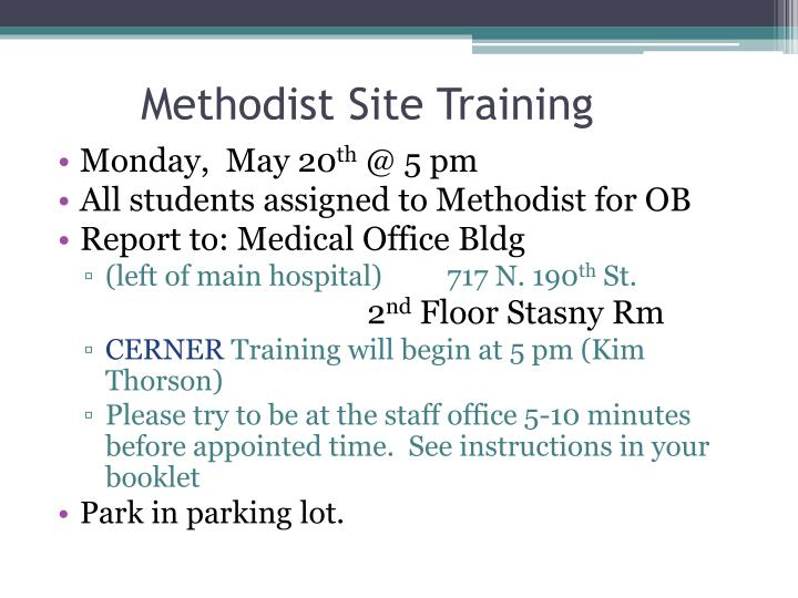 Methodist Site Training