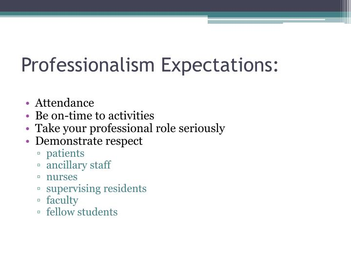 Professionalism Expectations: