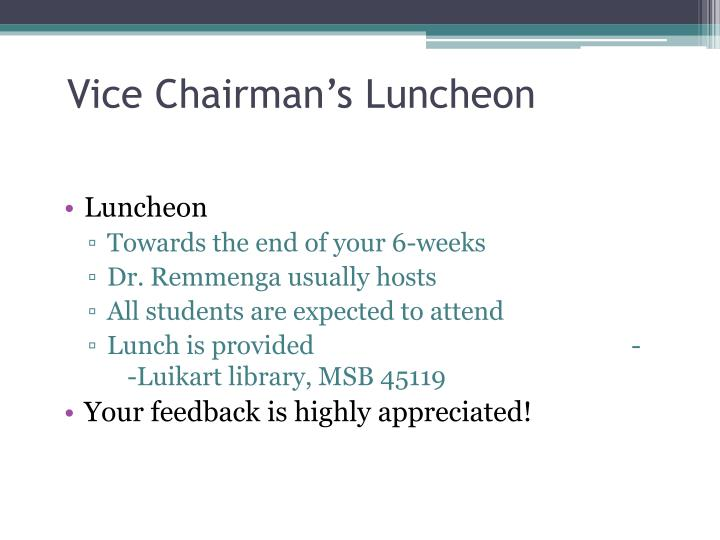 Vice Chairman's Luncheon