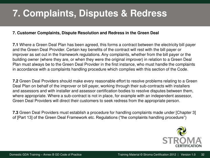 7. Complaints