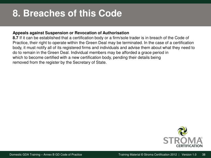 8. Breaches of this Code