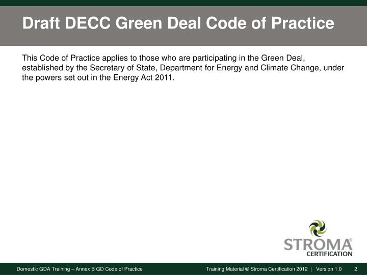 Draft decc green deal code of practice