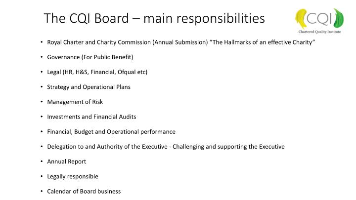 The cqi board main responsibilities