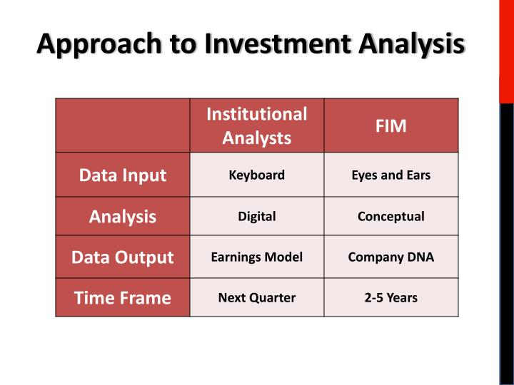 Approach to Investment Analysis