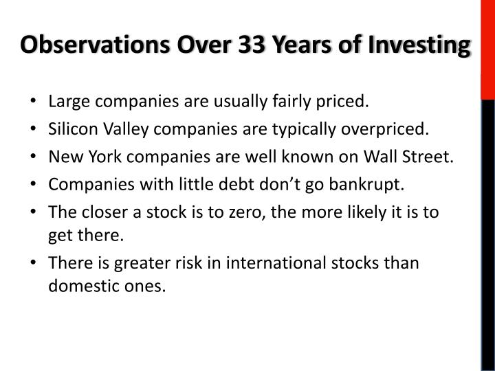 Observations Over 33 Years of Investing