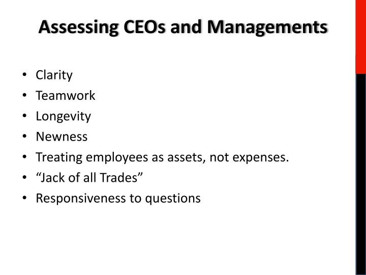Assessing CEOs and Managements