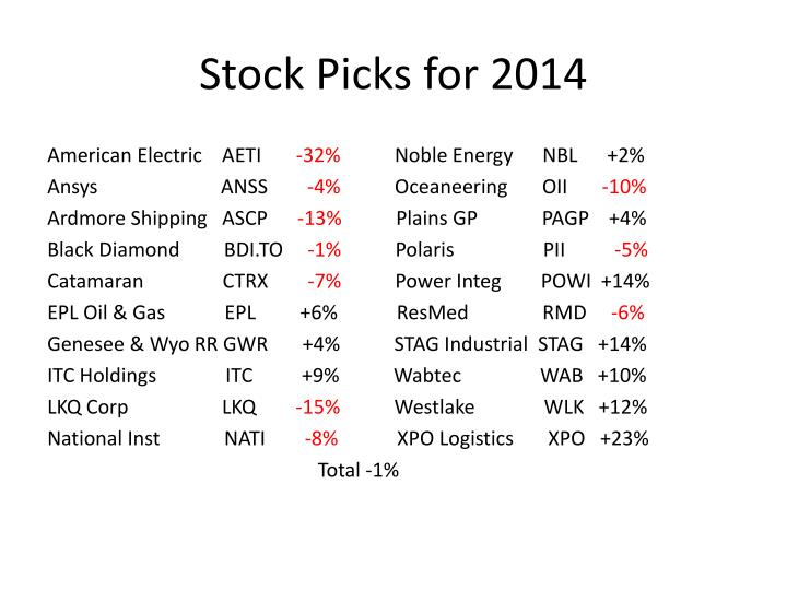 Stock Picks for 2014