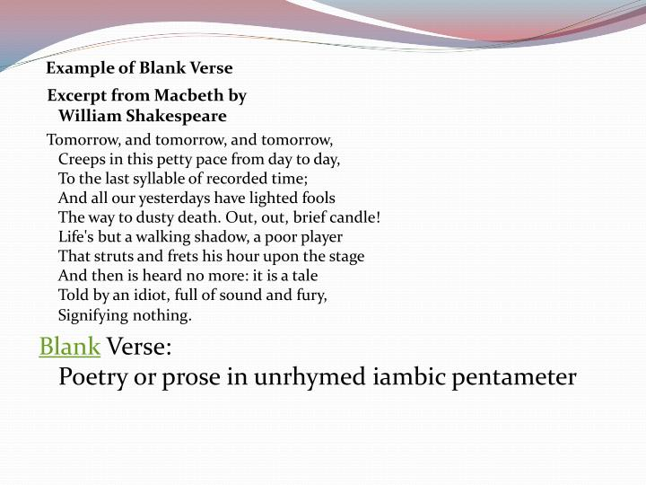 Example of Blank Verse