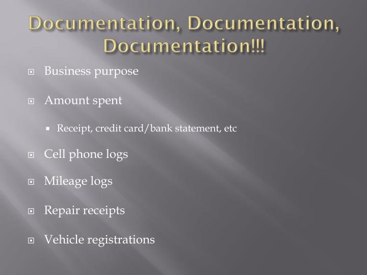 Documentation, Documentation, Documentation!!!