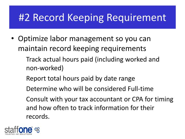 #2 Record Keeping Requirement