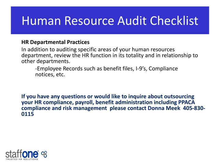 Human Resource Audit Checklist