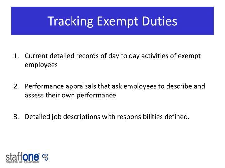 Tracking Exempt Duties