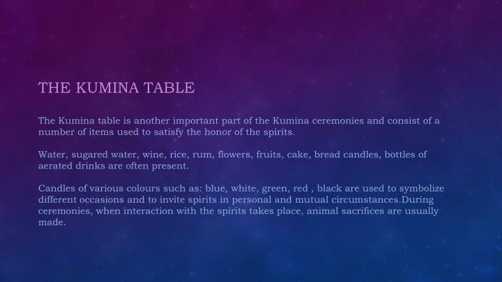 THE KUMINA TABLE