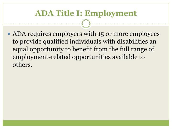 ADA Title I: Employment