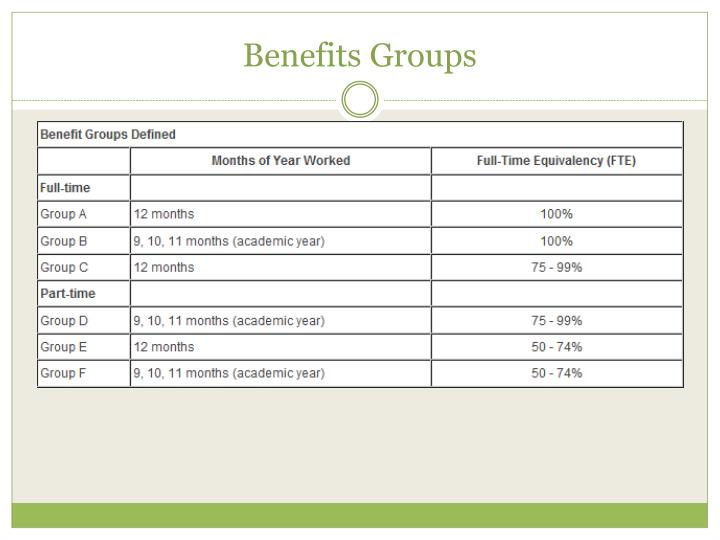 Benefits Groups
