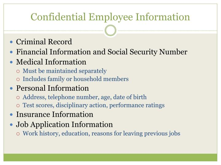 Confidential Employee Information