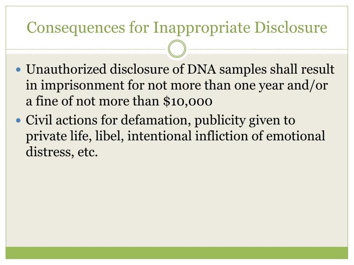Consequences for Inappropriate Disclosure