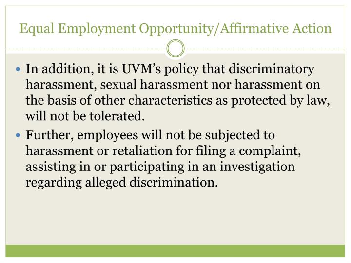Equal Employment Opportunity/Affirmative Action