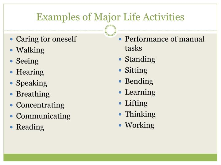 Examples of Major Life Activities
