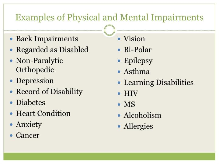 Examples of Physical and Mental Impairments
