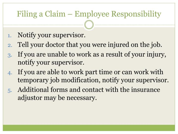 Filing a Claim – Employee Responsibility
