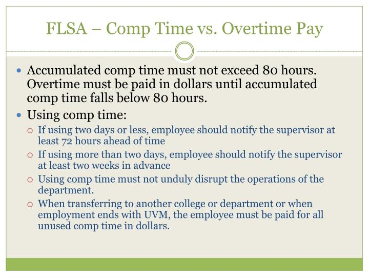 FLSA – Comp Time vs. Overtime Pay