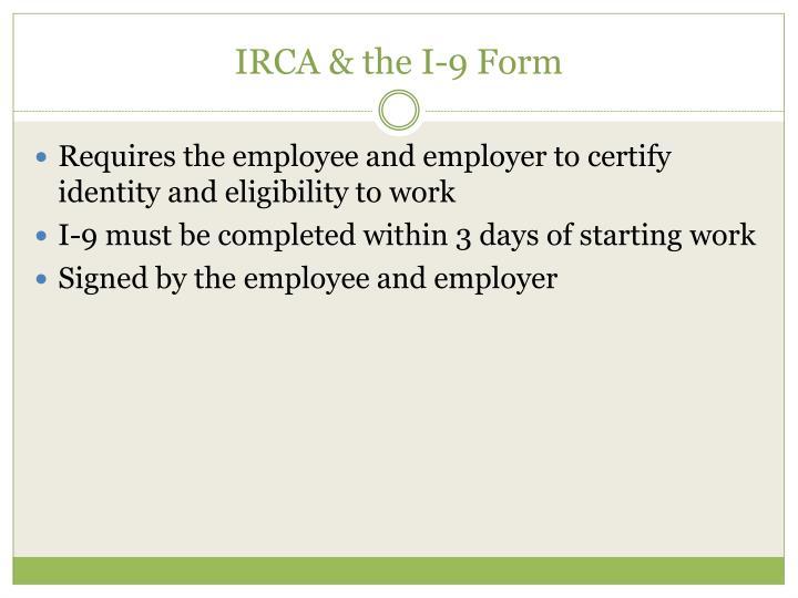 IRCA & the I-9 Form