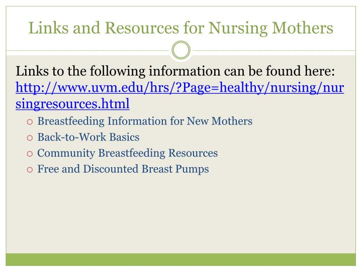 Links and Resources for Nursing Mothers