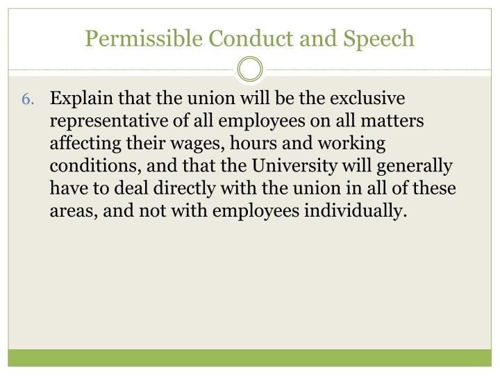 Permissible Conduct and Speech