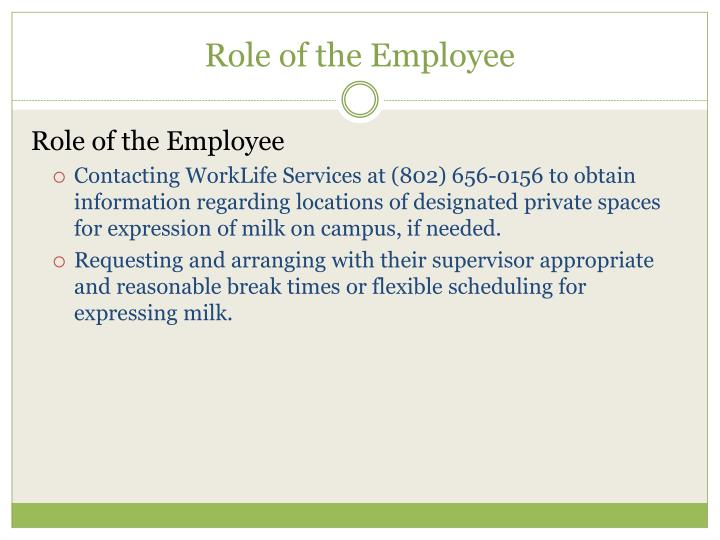 Role of the Employee
