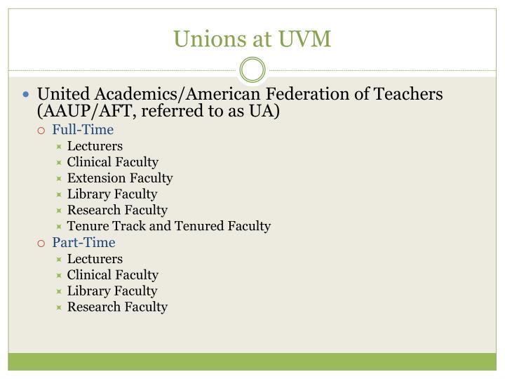Unions at UVM