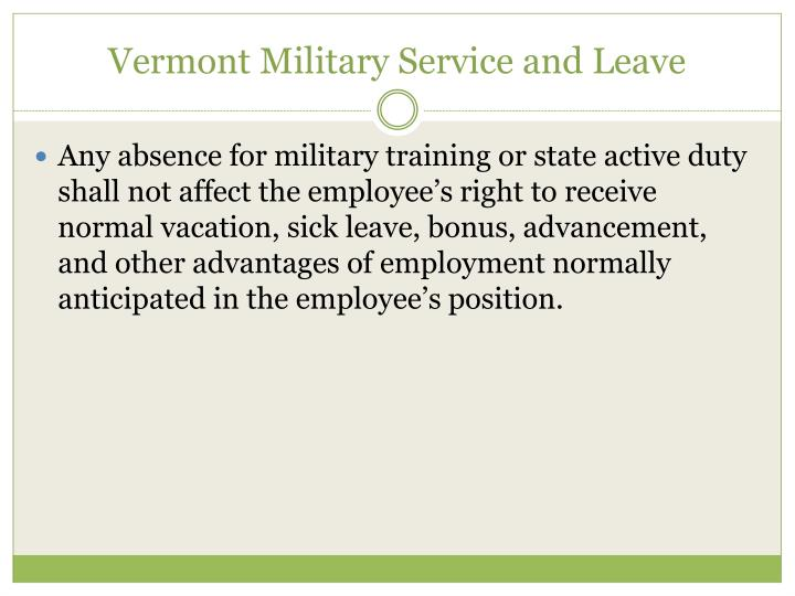 Vermont Military Service and Leave