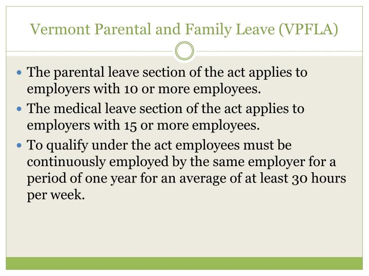Vermont Parental and Family Leave