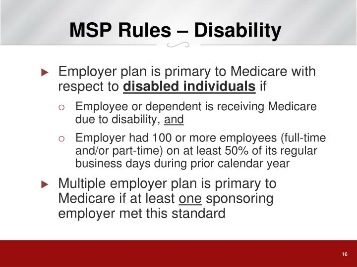 MSP Rules – Disability