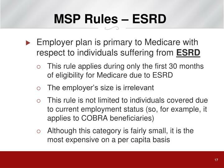 MSP Rules – ESRD