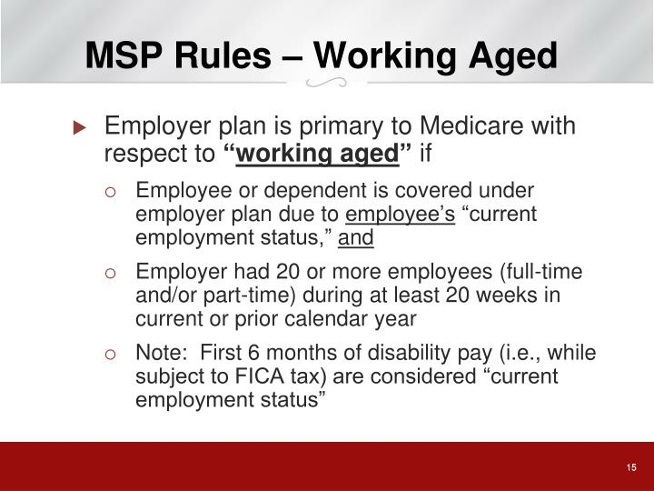 MSP Rules – Working Aged