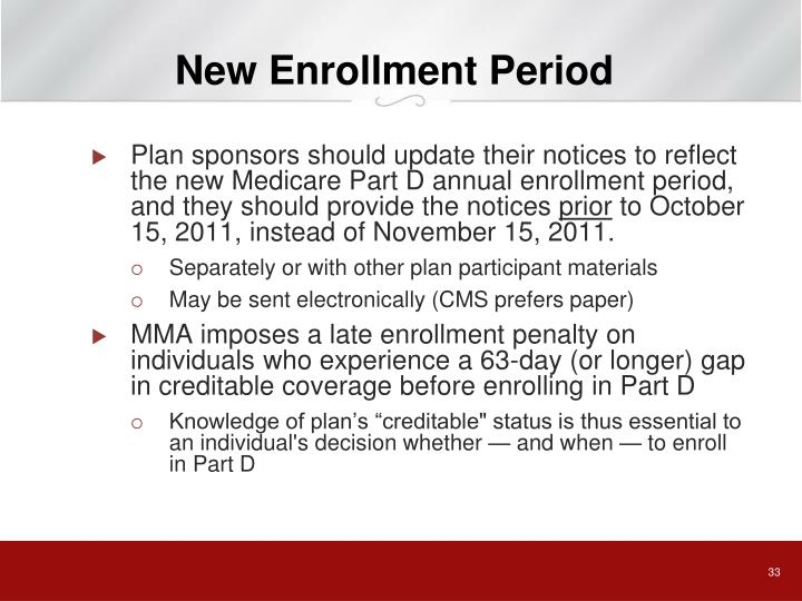 New Enrollment Period