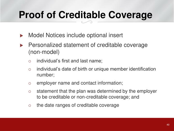 Proof of Creditable Coverage