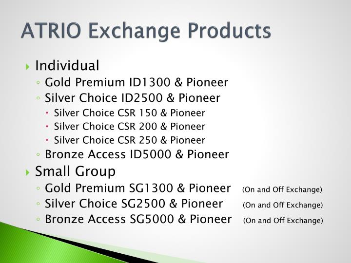 ATRIO Exchange Products