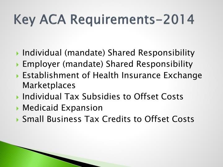 Key ACA Requirements-2014