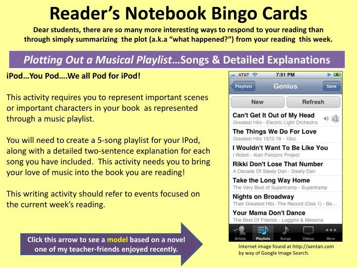 Reader's Notebook Bingo Cards