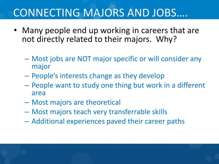 CONNECTING MAJORS AND JOBS….