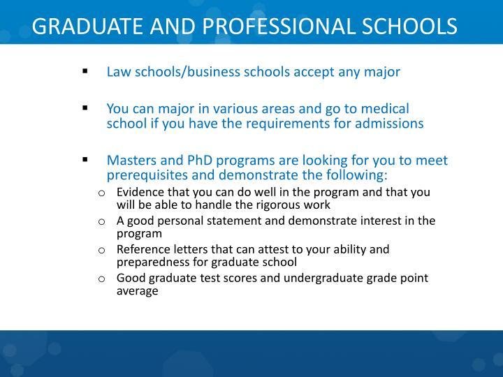 GRADUATE AND PROFESSIONAL SCHOOLS