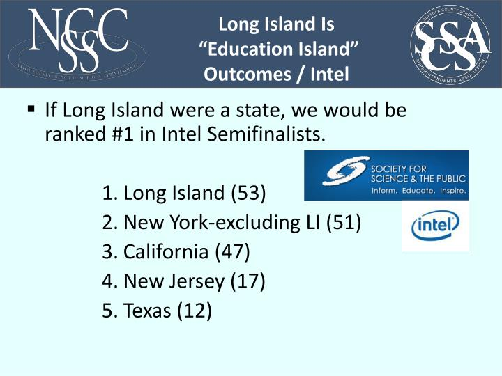 If Long Island were a state, we would be ranked #1 in Intel Semifinalists.